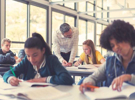 Studenten in klas